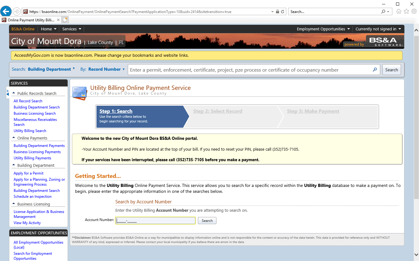 BSA portal screenshot