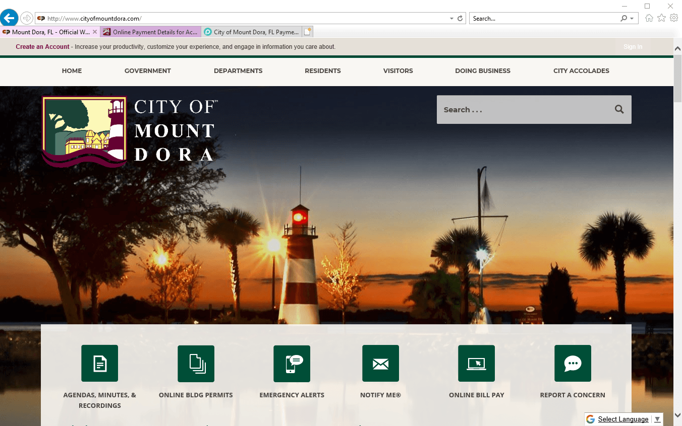 City website homepage screenshot