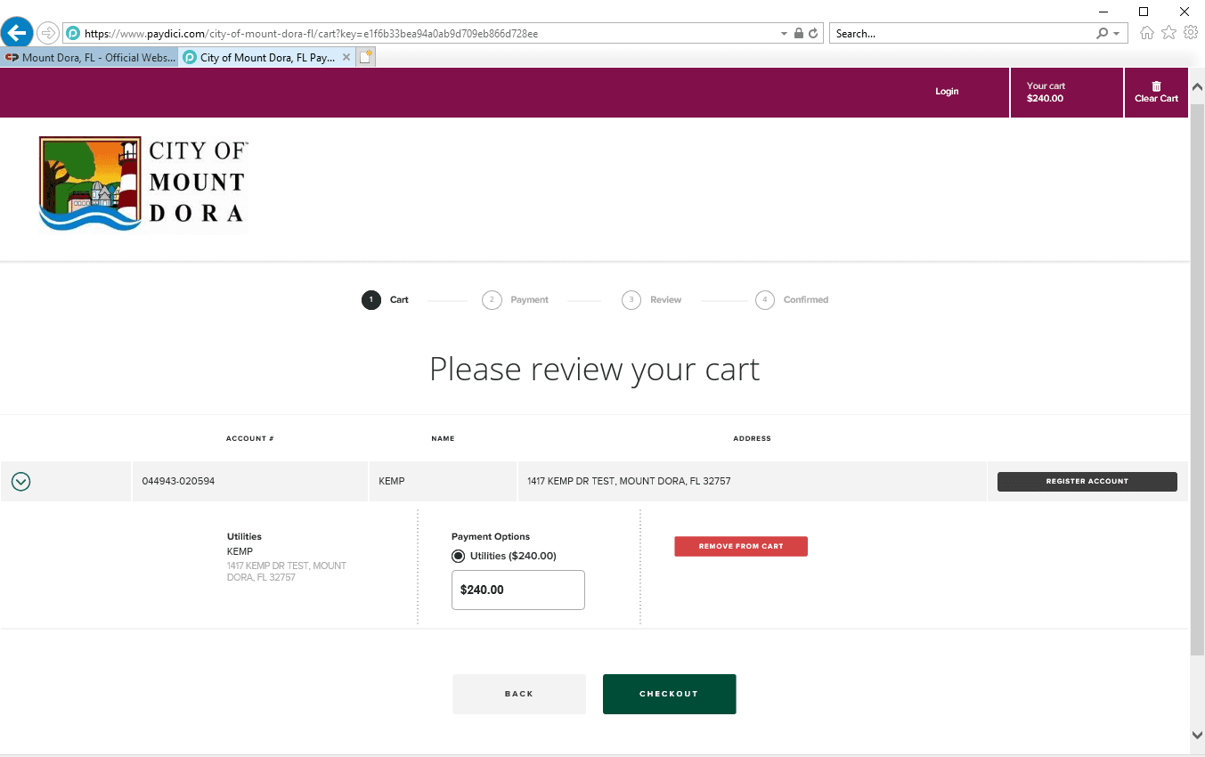 Point and Pay cart screenshot
