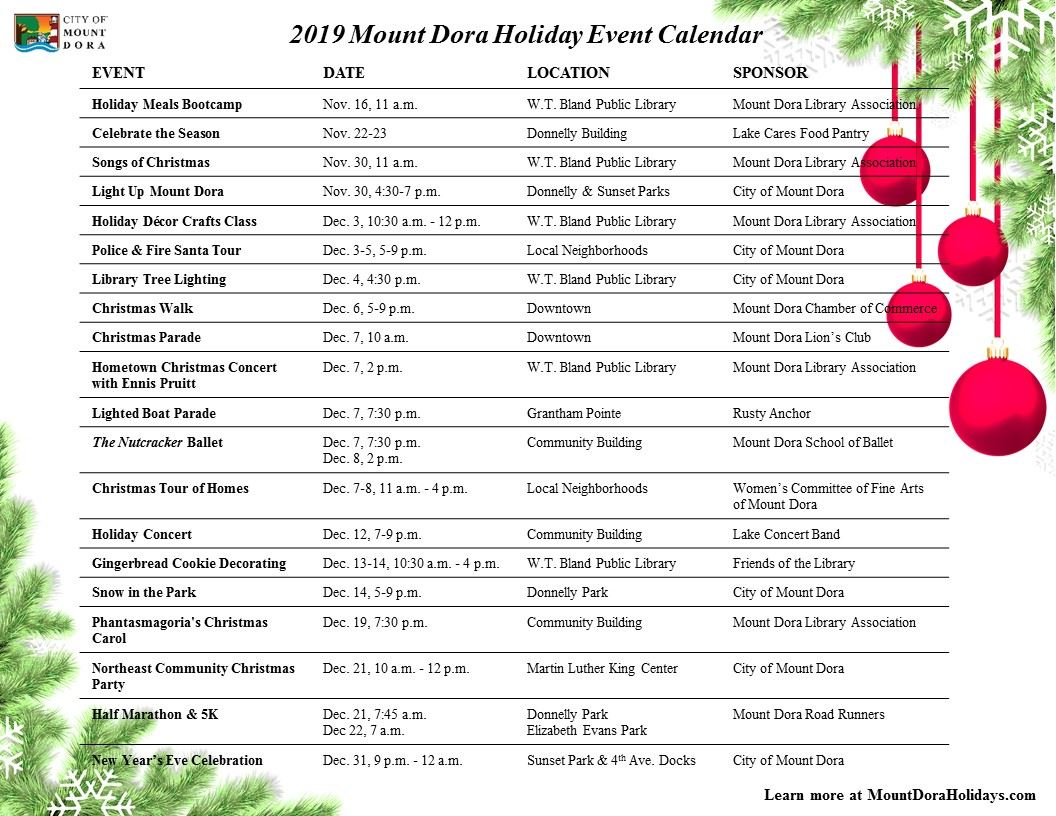Holiday Calendar of Events 2019_version 2