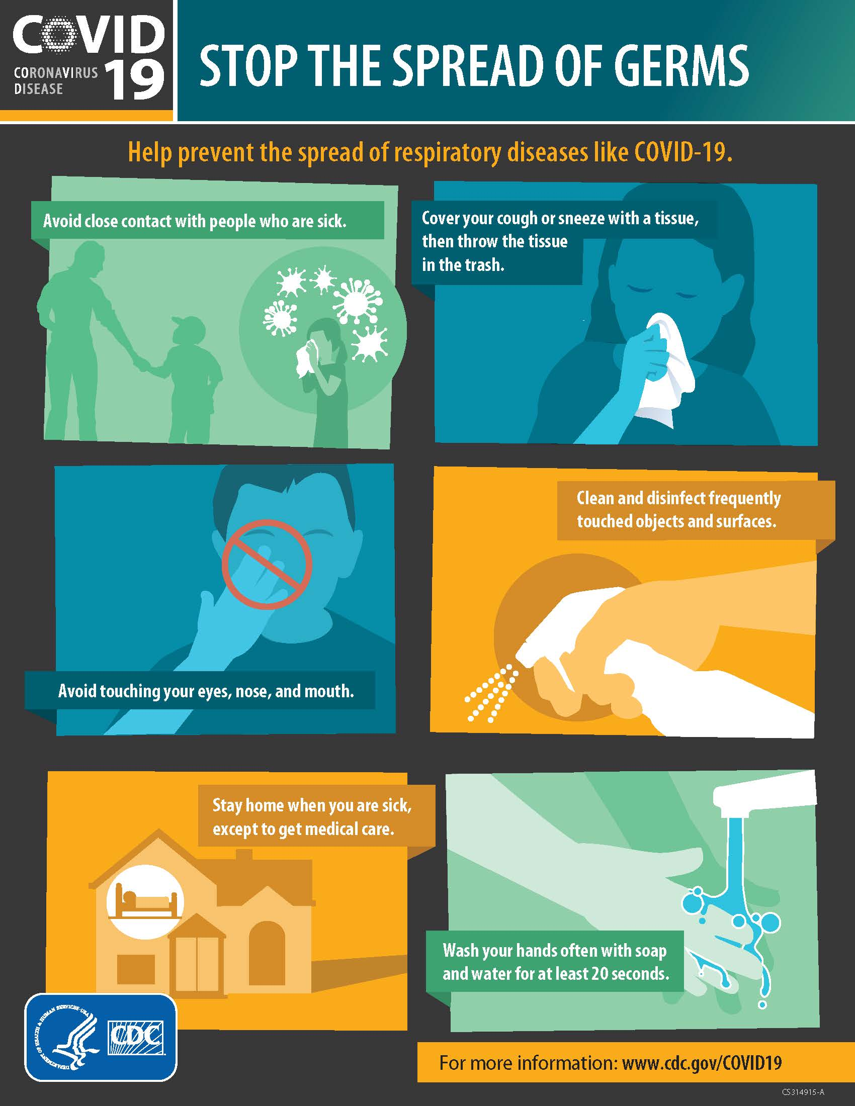 English Stop the Spread of Germs (COVID-19)