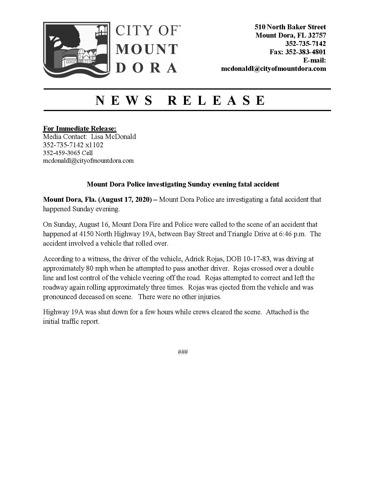 MDPD Fatal Accident Press Release