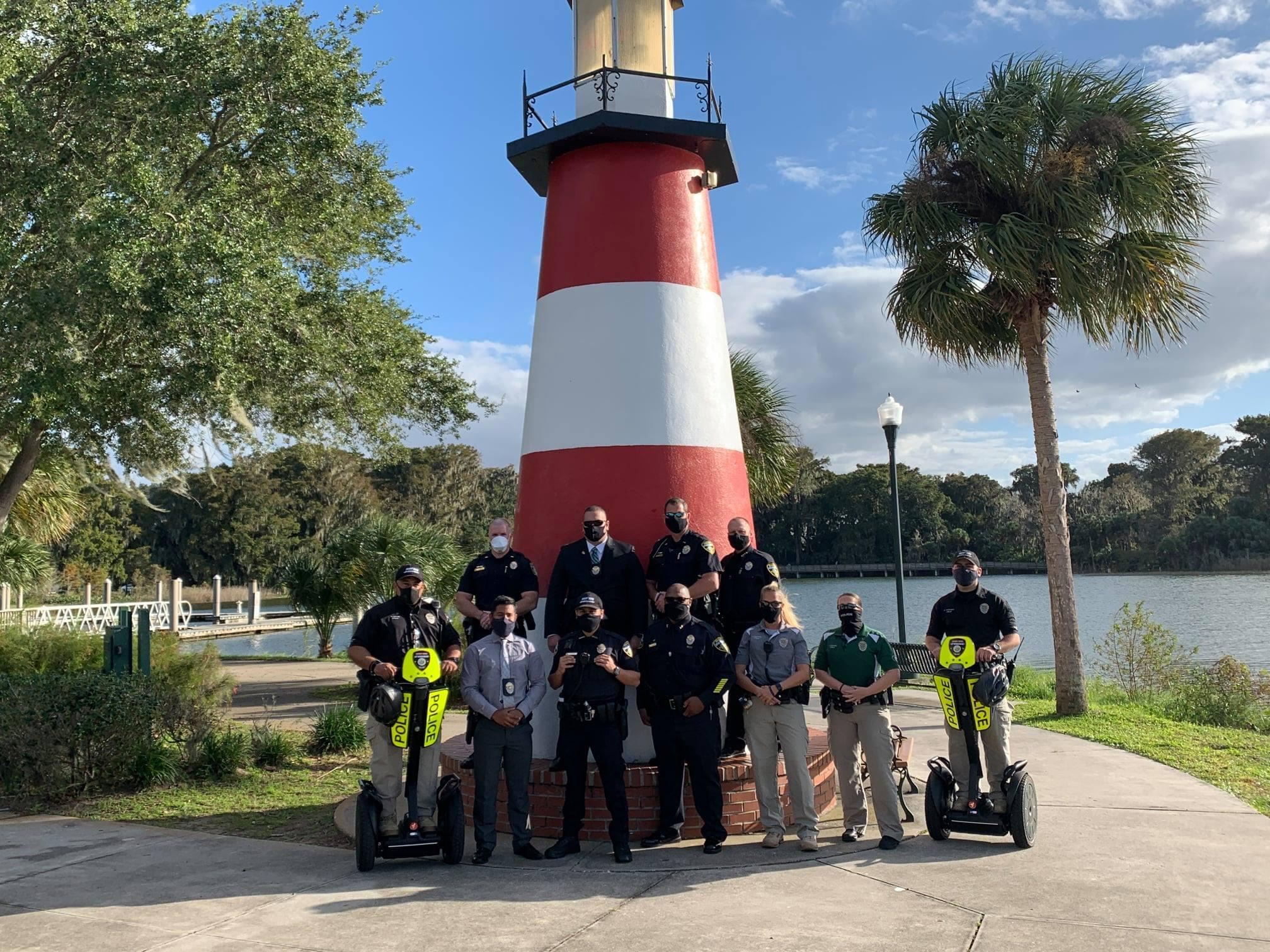 Lighthouse with officers