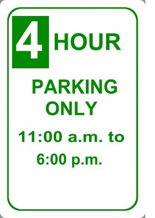 4 hour parking sign
