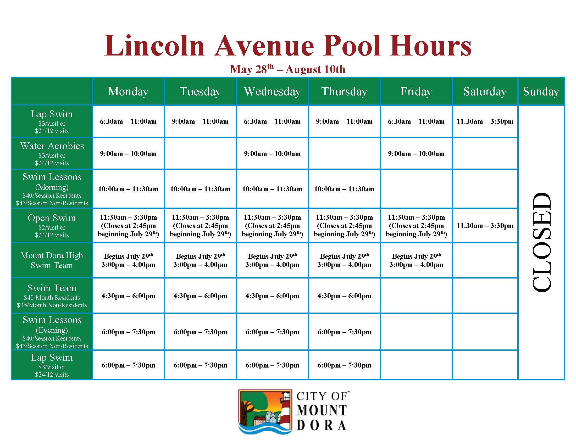Mount Dora Community Pool Programs Schedule and Prices from May 27th, 2019 through August 10th, 2019