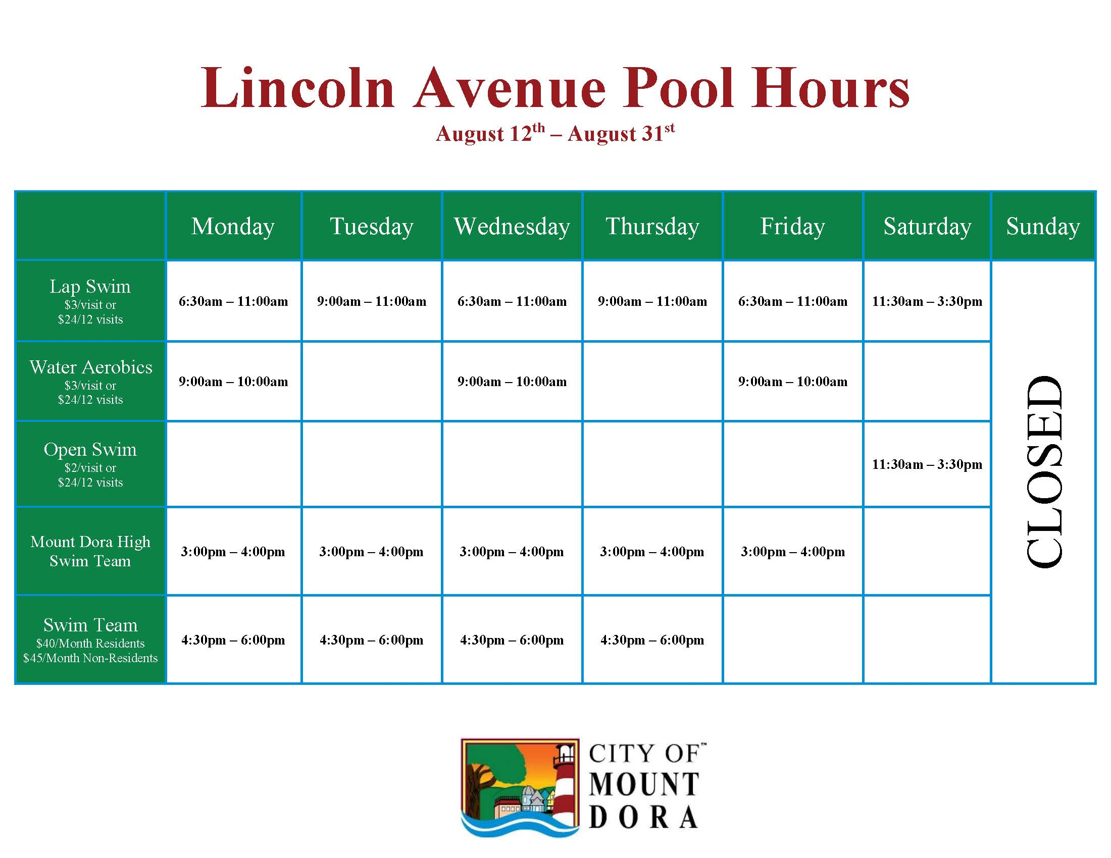 Mount Dora Community Pool Programhttp://ci.mount-dora.fl.us/Admin/DocumentCenter/DocumentForModal/Ad
