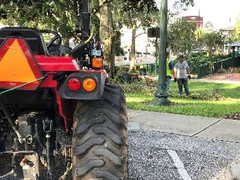 tractor in front of donnelly park