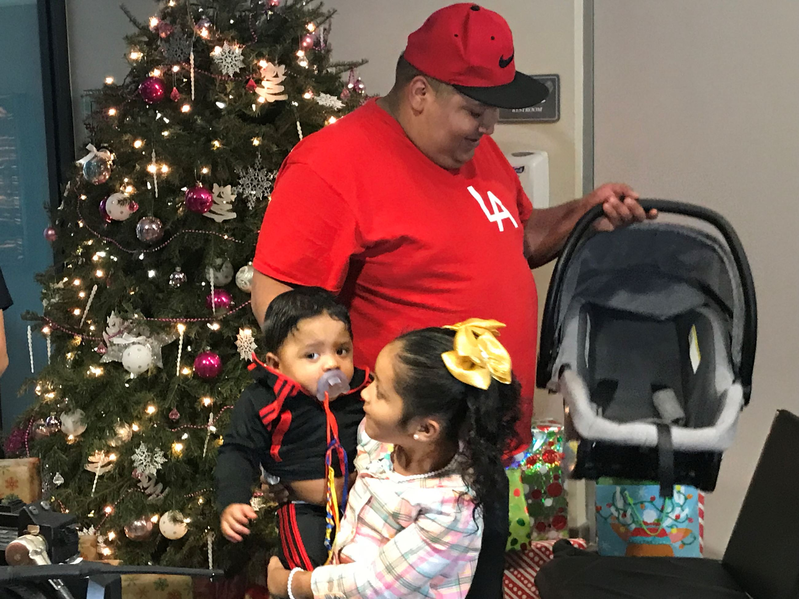 Father and Children getting special christmas